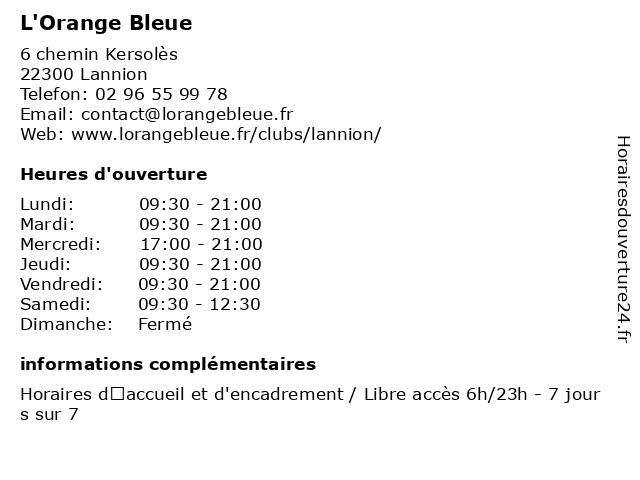 L'Orange bleue à Lannion: adresse et heures d'ouverture