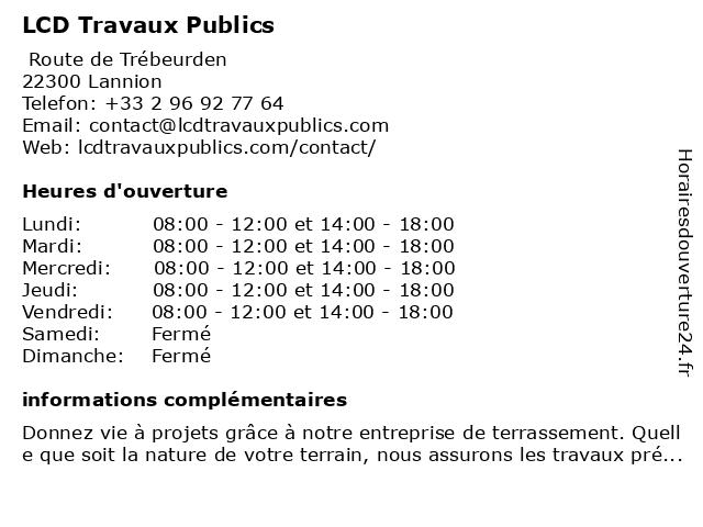 LCD Travaux Publics à Lannion: adresse et heures d'ouverture