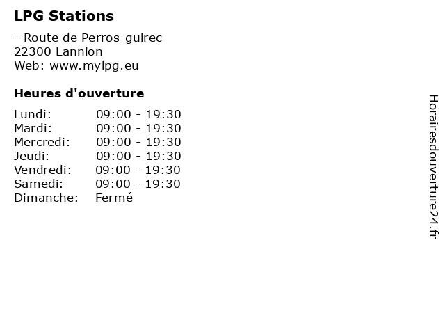 LPG Stations à Lannion: adresse et heures d'ouverture