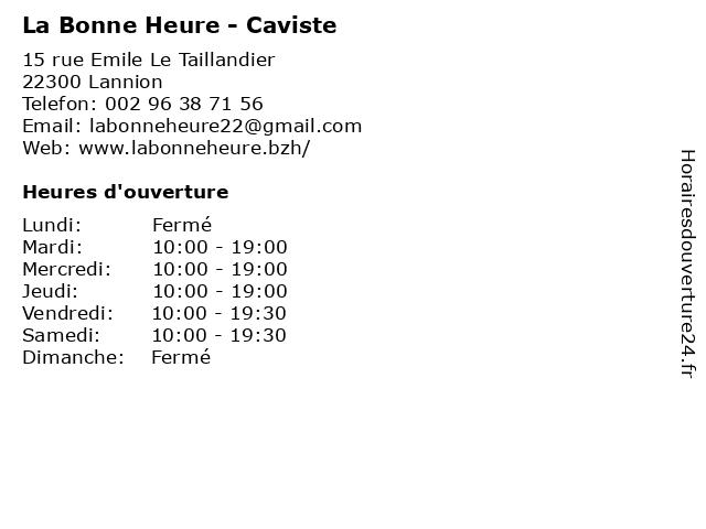 La Bonne Heure - Caviste à Lannion: adresse et heures d'ouverture