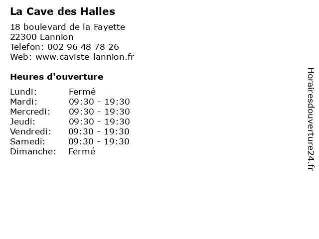 La Cave des Halles à Lannion: adresse et heures d'ouverture