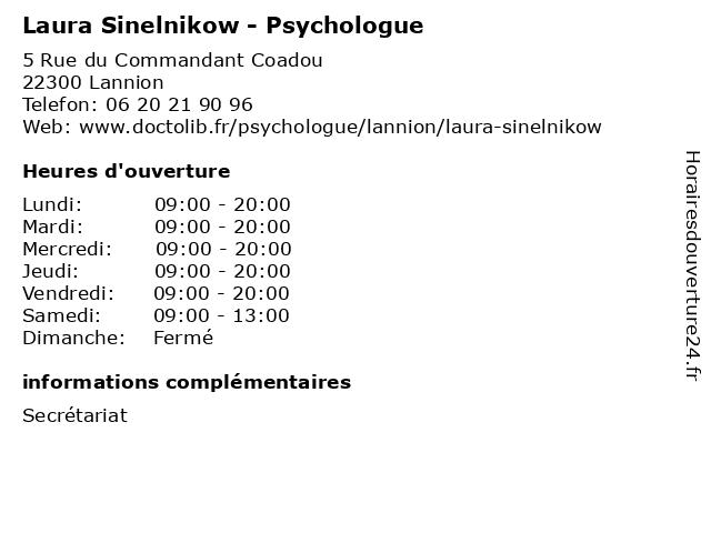 Laura Sinelnikow - Psychologue à Lannion: adresse et heures d'ouverture