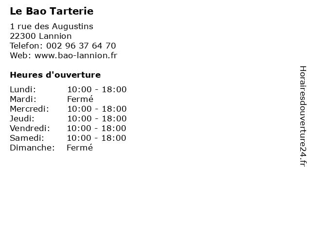 Le Bao Tarterie à Lannion: adresse et heures d'ouverture
