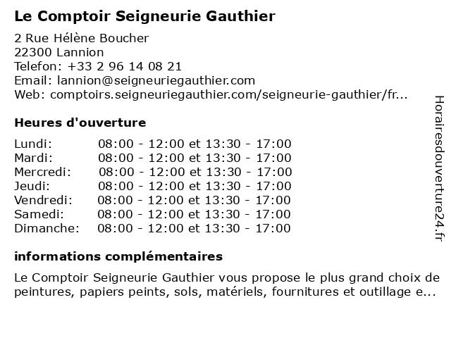 Le Comptoir Seigneurie Gauthier à Lannion: adresse et heures d'ouverture