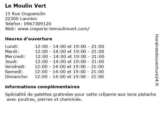 Le Moulin Vert à Lannion: adresse et heures d'ouverture