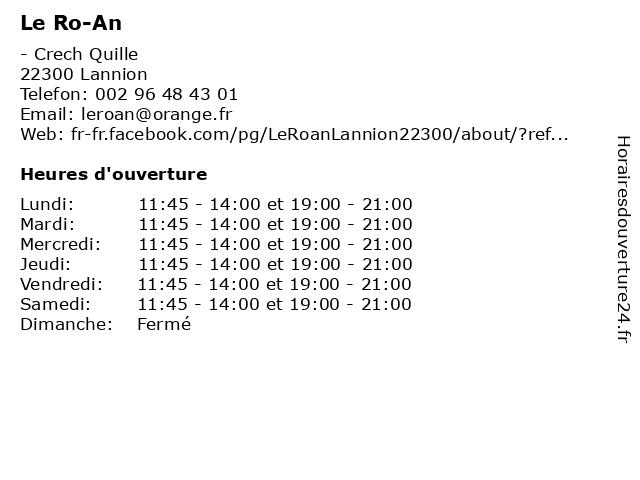 Le Ro-An à Lannion: adresse et heures d'ouverture