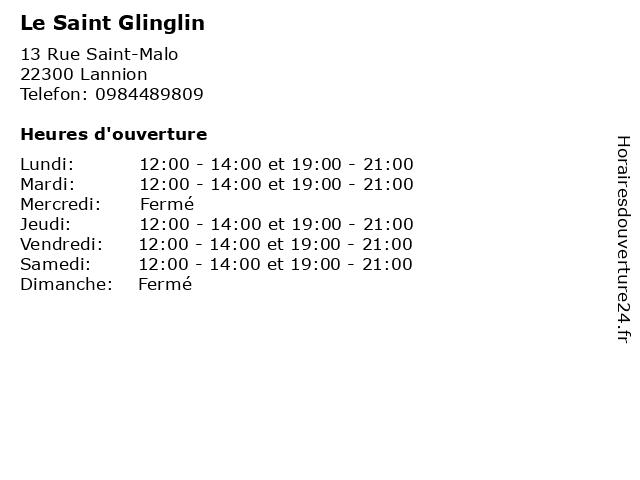 Le Saint Glinglin à Lannion: adresse et heures d'ouverture