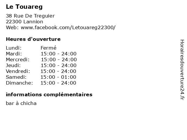 Le Touareg à Lannion: adresse et heures d'ouverture