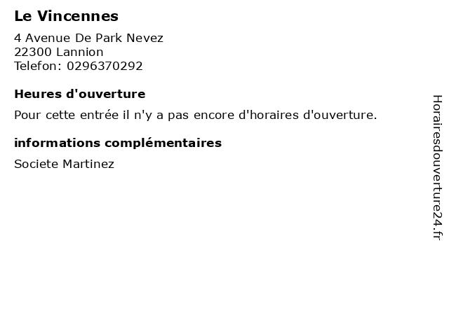 Le Vincennes à Lannion: adresse et heures d'ouverture