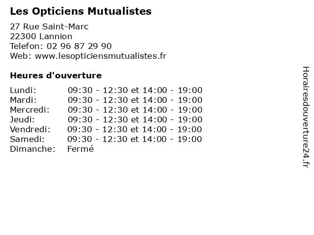 Les Opticiens Mutualistes à Lannion: adresse et heures d'ouverture