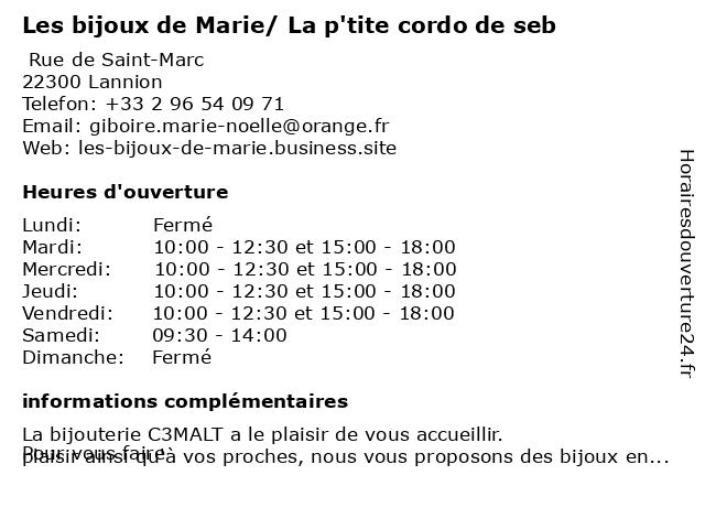 Les bijoux de Marie/ La p'tite cordo de seb à Lannion: adresse et heures d'ouverture