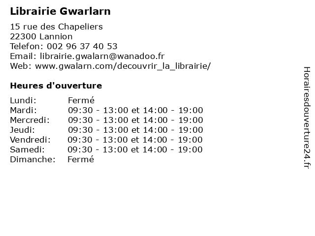 Librairie Gwarlarn à Lannion: adresse et heures d'ouverture