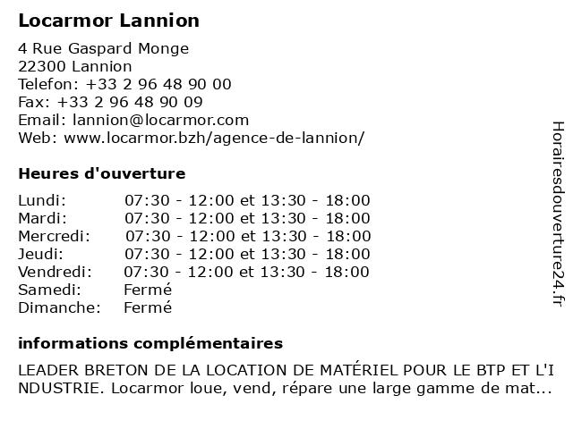 Locarmor Lannion à Lannion: adresse et heures d'ouverture
