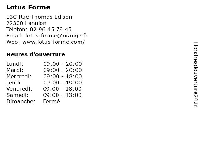 Lotus Forme à Lannion: adresse et heures d'ouverture