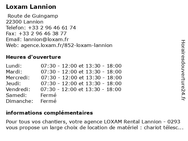 Loxam Lannion à Lannion: adresse et heures d'ouverture