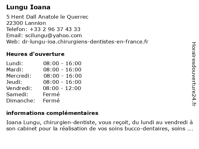 Lungu Ioana à Lannion: adresse et heures d'ouverture