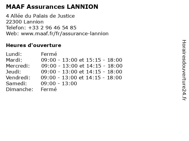 MAAF Assurances LANNION à Lannion: adresse et heures d'ouverture