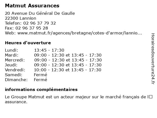 MATMUT Assurances à Lannion: adresse et heures d'ouverture