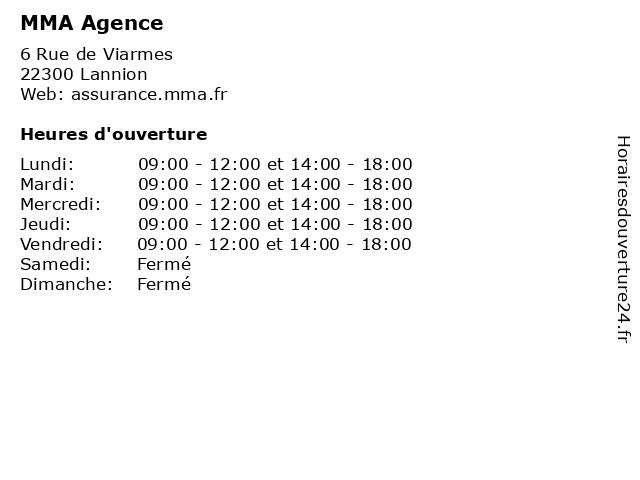 MMA Agence à Lannion: adresse et heures d'ouverture