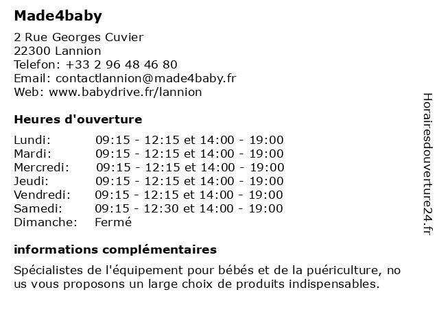 Made4baby à Lannion: adresse et heures d'ouverture