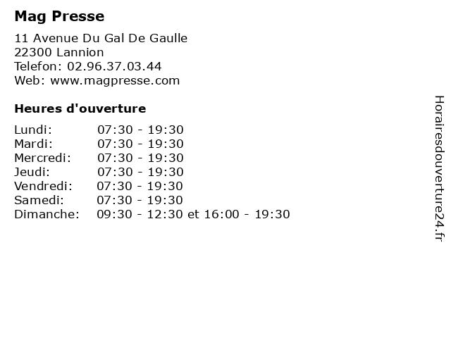Mag Presse à Lannion: adresse et heures d'ouverture