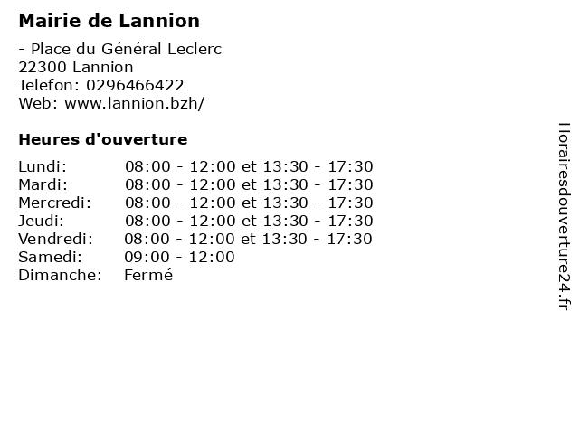 Mairie de Lannion à Lannion: adresse et heures d'ouverture