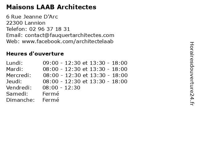 Maisons LAAB Architectes à Lannion: adresse et heures d'ouverture