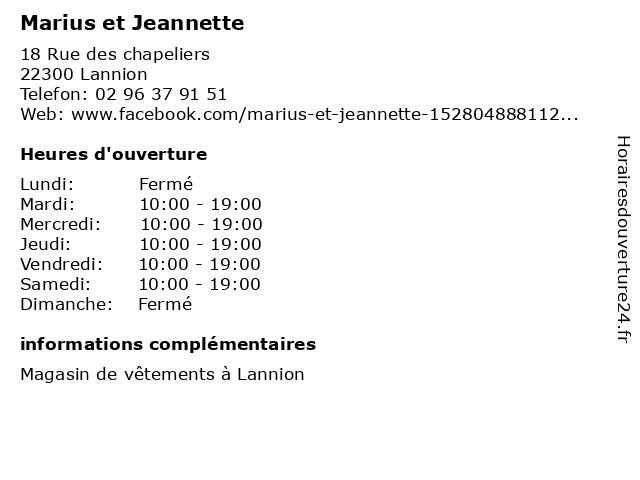Marius et Jeannette à Lannion: adresse et heures d'ouverture