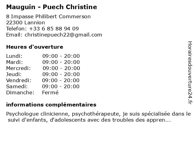 Mauguin - Puech Christine à Lannion: adresse et heures d'ouverture