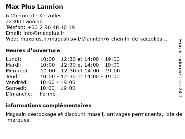 Max Plus Lannion à Lannion: adresse et heures d'ouverture