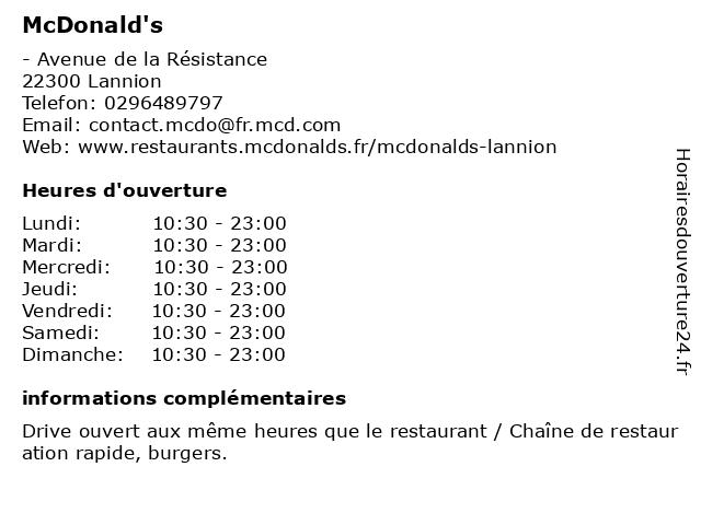 McDonald's - restaurant et drive à Lannion: adresse et heures d'ouverture