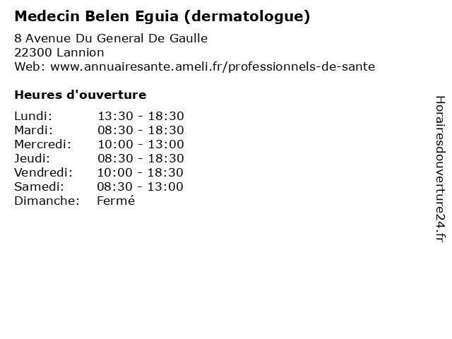 Medecin Belen Eguia (dermatologue) à Lannion: adresse et heures d'ouverture