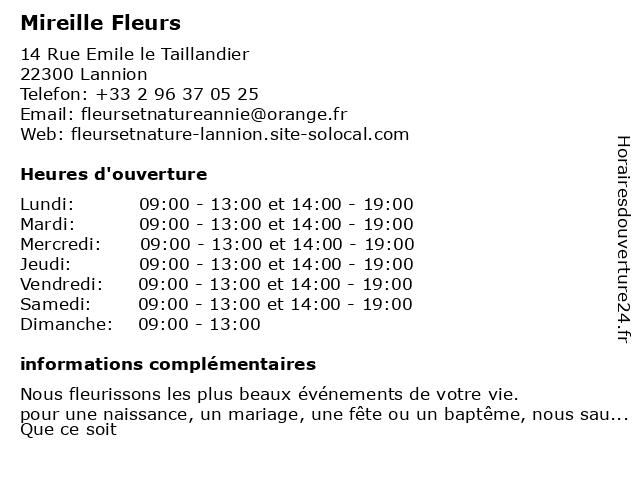 Mireille Fleurs à Lannion: adresse et heures d'ouverture