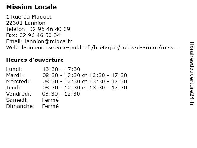 Mission Locale à Lannion: adresse et heures d'ouverture