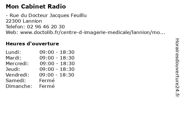 Mon Cabinet Radio à Lannion: adresse et heures d'ouverture