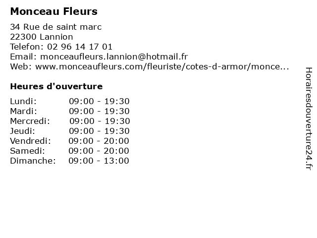 Monceau Fleurs à Lannion: adresse et heures d'ouverture