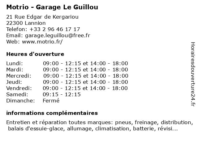Motrio - Garage Le Guillou à Lannion: adresse et heures d'ouverture
