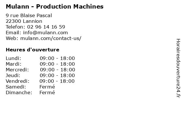 Mulann - Production Machines à Lannion: adresse et heures d'ouverture