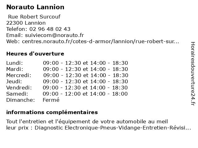 NORAUTO LANNION à Lannion: adresse et heures d'ouverture