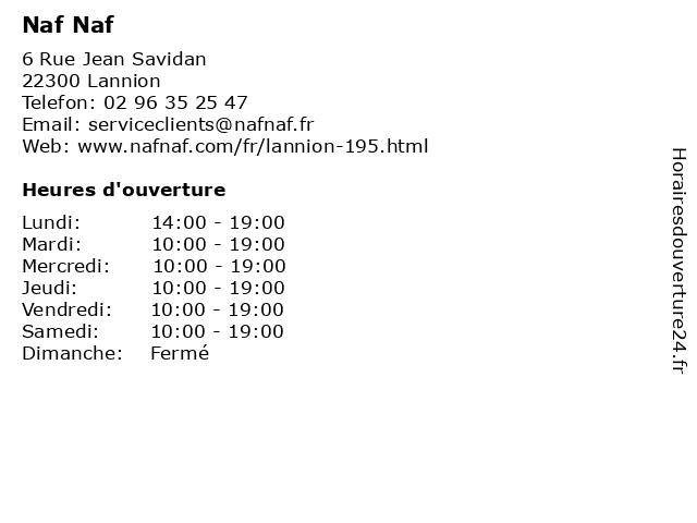 Naf Naf à Lannion: adresse et heures d'ouverture