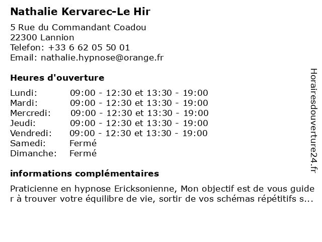 Nathalie Kervarec-Le Hir à Lannion: adresse et heures d'ouverture
