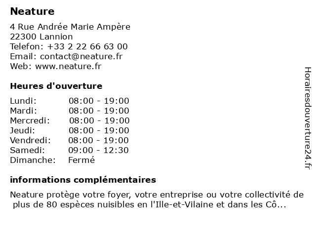 Neature à Lannion: adresse et heures d'ouverture