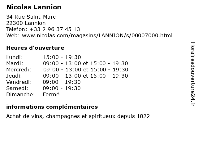 Nicolas Lannion à Lannion: adresse et heures d'ouverture