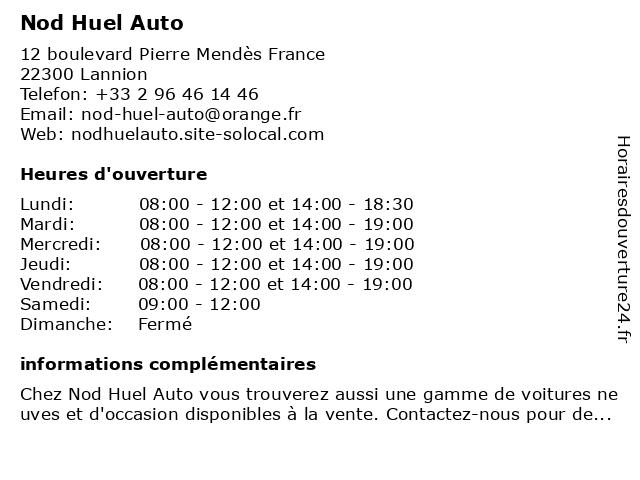 Nod Huel Auto à Lannion: adresse et heures d'ouverture