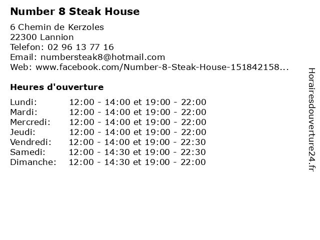 Number 8 Steak House à Lannion: adresse et heures d'ouverture