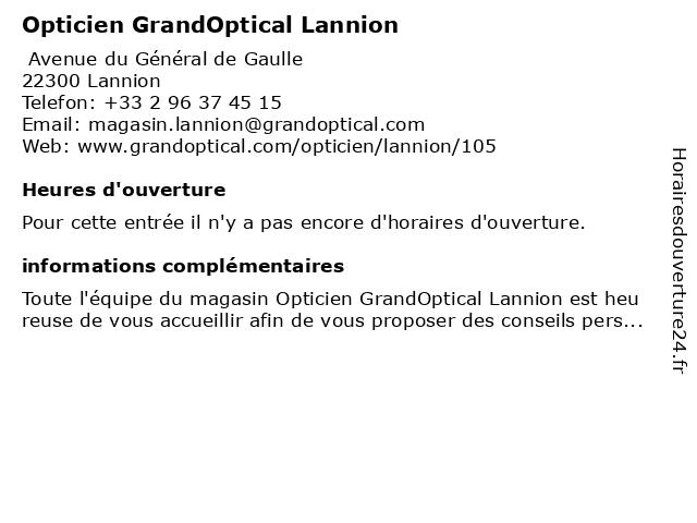 Opticien GrandOptical Lannion à Lannion: adresse et heures d'ouverture