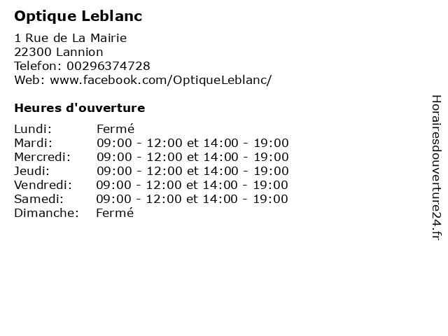 Optique Leblanc à Lannion: adresse et heures d'ouverture