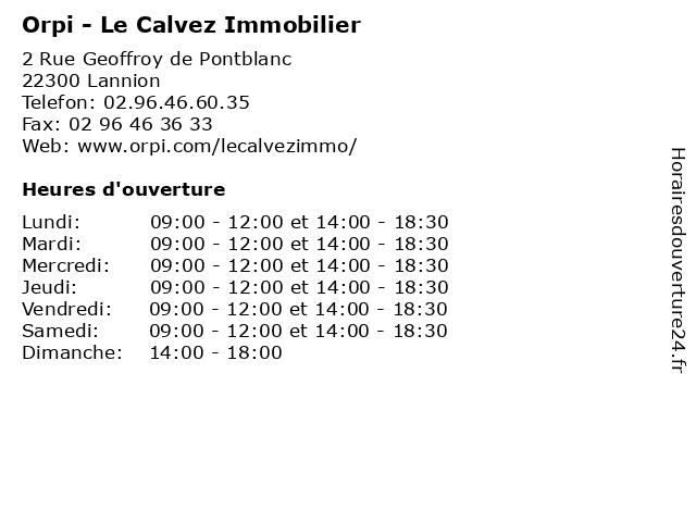 Orpi - Le Calvez Immobilier à Lannion: adresse et heures d'ouverture