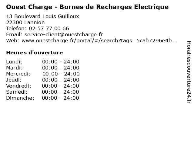 Ouest Charge - Bornes de Recharges Electrique à Lannion: adresse et heures d'ouverture