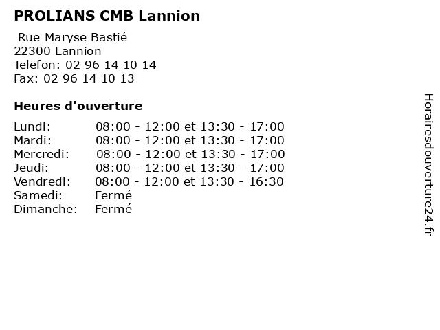 PROLIANS - CMB - Lannion à Lannion: adresse et heures d'ouverture